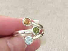 Aquamarine, Peridot and Citrine Sterling Silver 925 Ring - Size 10