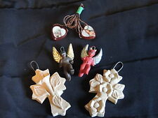 A group of Religious ornaments for the Shrine Altar clay crosses angel devil