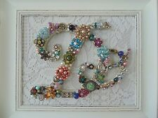Shabby Cottage Vintage Jewelry Framed Christmas Tree ~INITIAL D~ Letter
