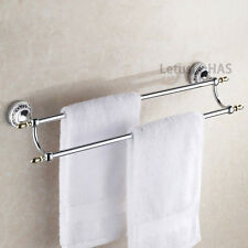 Chrome Brass Bath Hardware Towel Rail Holder Wall Mount Double Bar Rack Hanger