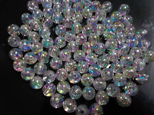 100pcs 8mm Acrylic Seamless Round Beads - Clear Iridescent AB Wedding Bridal