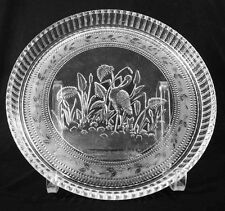 """EAPG - Stippled-Forget-Me-Not with Stork - 11"""" Round Tray"""