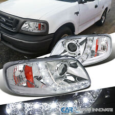 Ford 1997-2003 F150 Expedition Chrome Clear LED DRL Projector Headlights+Bulbs