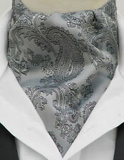 Pre-tied Silver & Black Paisley Silk Satin Ascot Cravat & Handkerchief - UK Made