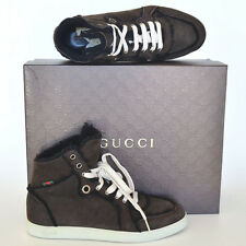 GUCCI New sz 7.5 G - US 8 Web Logo Brown Shearling Mens High Top Sneakers Shoes