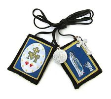 Scapular Our Lady Lourdes of America Brown Scapular 100% Wool & Medals Catholic