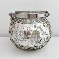 VINTAGE STYLE GLASS BALL SILVER YANKEE TEA LIGHT HOLDER CANDLE LANTERN TABLE DEC