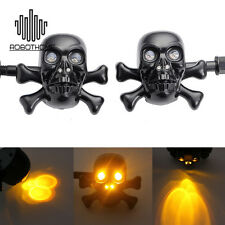 Universal Motorcycle LED Skull Turn Signal Light For Harley Crusier Chopper Moto