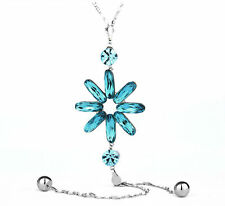 Swarovski Element Crystal Long Chain Silver Sparkly Blue Flower Necklace Pendant