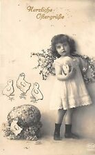 BG4317 girl with egg and flower chicks  ostern easter germany greetings
