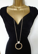 "Sparkly 32"" Long Double Chain Necklace with Diamante Loop Pendant GOLD Tone"