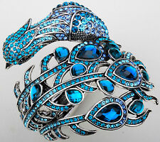 Big peacock cuff bracelet bling jewelry gift for women girls silver blue 2