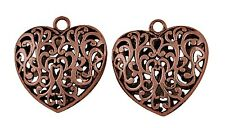 3 x Large Puffed Filigree Heart Pendants in Red Copper Colour Pendant O140