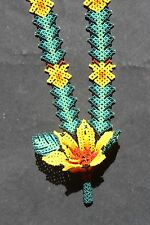 HUICHOL FLOWER NECKLACE MEXICAN ETHNIC NATIVE SPIRITUAL NIERIKA JEWELRY FOLK ART