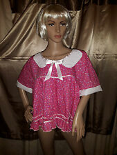 Sissy Adult Baby Pink and White Short Dress with Peter Pan Collar