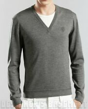 GUCCI Mens M gray 100% Wool HYSTERIA Crest Logo V-neck sweater NWT Authentc $470