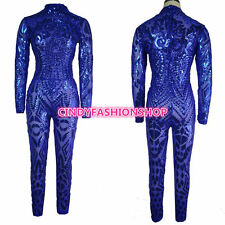 USA Women Sexy Geometric Tattoo Sequin Long Sleeve Bodysuit Cat suit Jumpsuit
