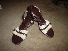WOMENS NATURALIZER (PANDORA N) BEIGE?TAN? FABRIC ANKLE STRAP SANDALS/SHOES SZ 8M