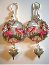 Poppy Flower Fairy 925 Sterling Silver Bubble Charm Earrings Vintage Fairy Image