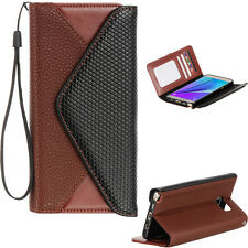 Samsung Galaxy Note 5 Leather ENVELOPE STYLE WALLET POUCH BLACK+BROWN