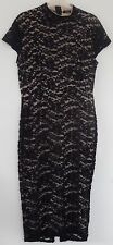 STUNNING BLACK LACE BOOHOO DRESS WITH BEIGE LINING 12