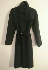 'S Max Mara Black Trench Mac Jacket Size 12 - Water Resistant Teflon Rain Coat