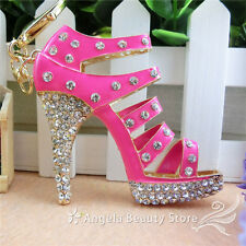 Cute Shoes High-Heel Keyring Crystal Key chain Keyring Handbag Accessory Pendant