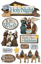 PAPER HOUSE HOLY NIGHT CHRISTMAS RELIGIOUS DIMENSIONAL 3D SCRAPBOOK STICKERS