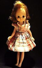 "Betsy McCall Tiny Doll 8"" Movable Eyelids Legs Arms Plaid Dress 1950s VINTAGE"