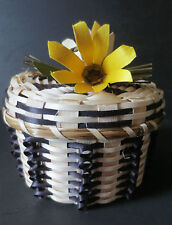 BOLD flower top basket, black/natural/yellow - Dolly Barnes, Passamaquoddy
