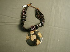 NWT CHICO'S NECKLACE - 6 STRANDS W/ BEADS & PENDANT - BROWN COPPER - 94  x bha
