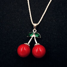 Lady's Rose Gold Plated Crystal Cherry Pendant Long Sweater Chain Necklace