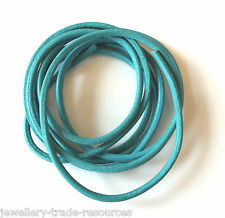 TURQUOISE BLUE 100% NATURAL 1.3mm LEATHER CORD THONG THREAD NECKLACE & JEWELLERY