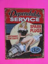 tin metal decor gas oil dealer garage repair shop advertising petroleum spark pl