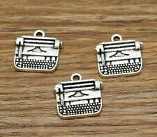 15 Typewriter Charms Antique Silver Tone Typing Machine Charm 18x18mm 2609