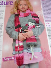 Pattern To Crochet LIttle Girl's Pretty Scarf And Dressed Dolly In  D.K.