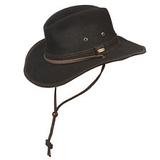 STETSON ** BROWN CANVAS OUTBACK HAT * L XL * NEW MEN SHAPEABLE RAIN SHADY FEDORA