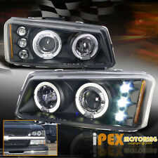 Brightest LED Halo Projector Headlight Black 2003-2006 Chevy Silverado Avalanche