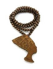 "NEW QUEEN NEFERTITI GOOD QUALITY WOOD PENDANT 8mm/36"" WOODEN BEAD NECKLACE XJ94"