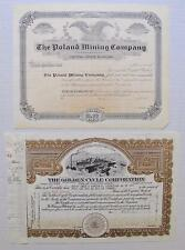 Two Different Colorado Mining Stock Certificates: Golden Cycle Corp. & Poland MC