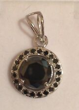 7.60CT BIG  AAA BLACK MOISSANITE ROUND CUT PENDANT .925 STERLING SILVER