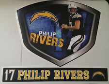 """Philip Rivers FATHEAD Player Shield 23""""x18"""" +Name Street Sign 26""""x3.5"""" Chargers"""