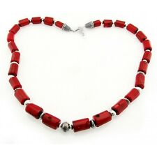Southwestern Coral Necklace with Sterling Silver