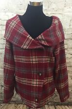 Womens WOOLRICH Sz Small Red Ruby Plaid Hooded Portrait Collar ButtonZip Closure