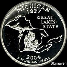 2004 S 90% Silver Michigan State Quarter Deep Cameo Gem Proof No Reserve