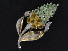 INCREDIBLE Marcel Boucher Vintage Rhodium Plated Rhinestone Flower Pin (PN1259)