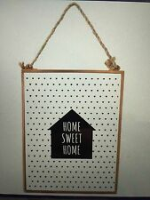 Contemporary Rose Gold/Copper Glass Sign Home Sweet Home Sign & Rope Hanger