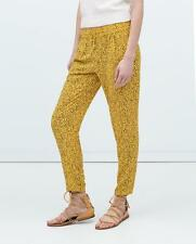 ZARA YELLOW PRINTED TROUSERS SIZE XS - BNWT