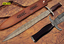 Sw-335, Handmade Damascus Steel 24.4 Inches Sword - Brown Micarta Handle