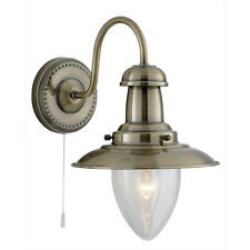 Searchlight 5331-1ab Fisherman Antique brass wall light lamp c/w pull switch